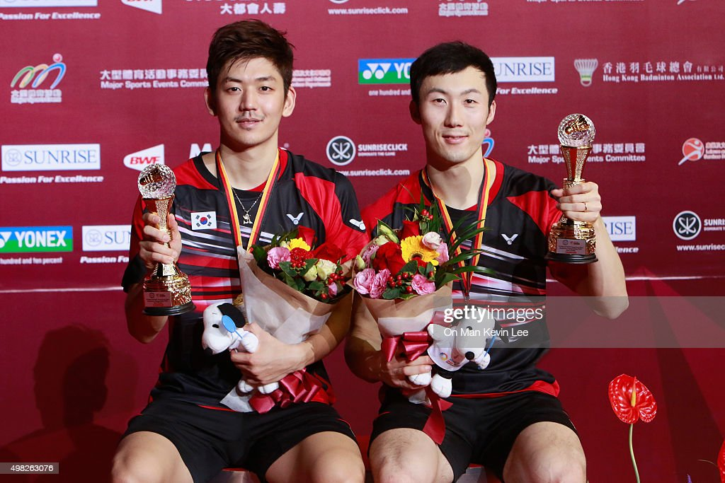 Lee Yong Dae and <a gi-track='captionPersonalityLinkClicked' href=/galleries/search?phrase=Yoo+Yeon-Seong&family=editorial&specificpeople=5805702 ng-click='$event.stopPropagation()'>Yoo Yeon-Seong</a> pose for a picture with their medals after the match between Yoo Yeon Seong and Lee Yong Dae of Korea and Mathias Boe and Carsten Mogensen of Denmark at the final round of Men's Double of Yonex-Sunsrise Hong Kong Open 2015 on November 22, 2015 in Hong Kong, Hong Kong.