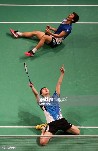 Lee Yong Dae Lee and Yeon Seong Yoo of Korea celebrate winning the Mens Doubles Final against Lee Shengmu and Tsai ChiaHsin of Chinese Taipei during...