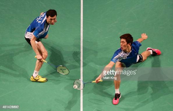 Lee Yong Dae Lee and Yeon Seong Yoo of Korea compete in the Mens Doubles Final against Lee Shengmu and Tsai ChiaHsin of Chinese Taipei during the...