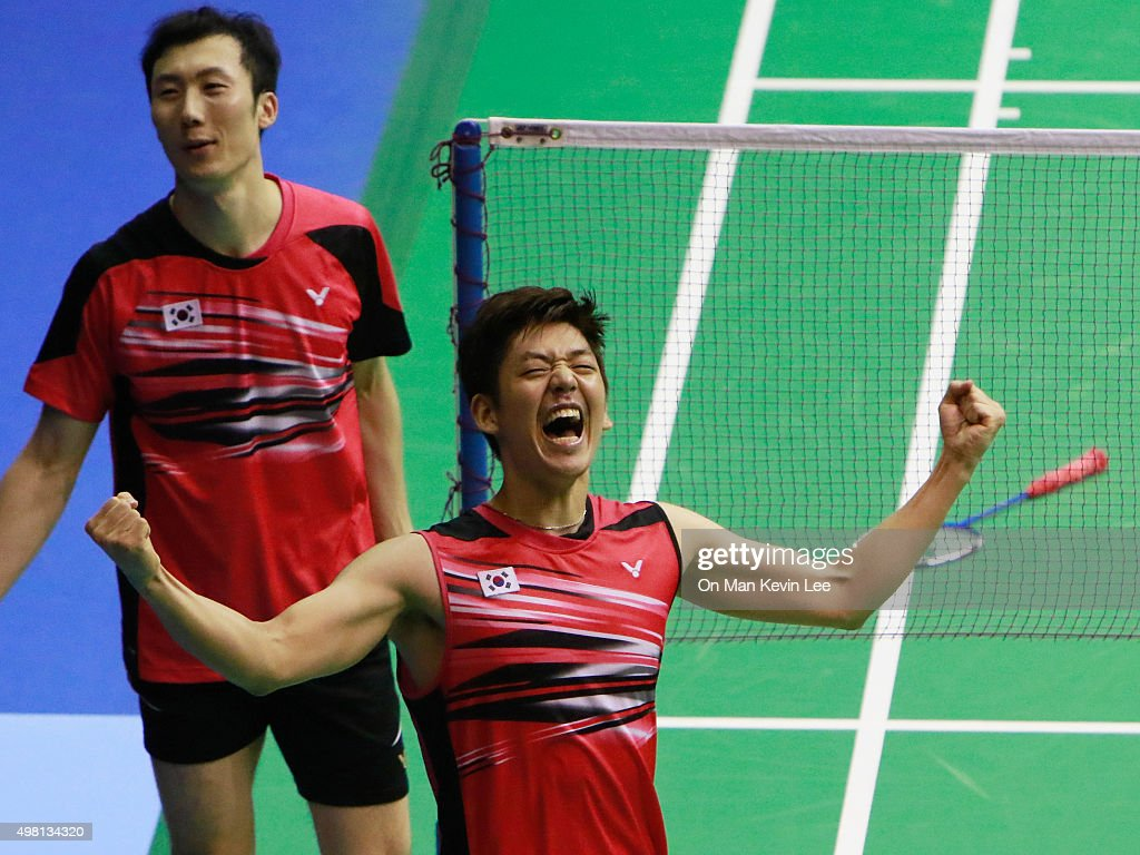 Lee Yong Dae of South Korea reacts after winning the match between Lee Yong Dae and Yoo Yeon Seong of South Korea and Chai Biao and Hong Wei of China during Semi-Final of Yonex-Sunrise Hong Kong Open 2015 on November 21, 2015 in Hong Kong, Hong Kong.
