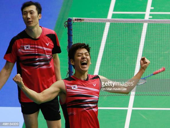 Lee Yong Dae of South Korea reacts after winning the match between Lee Yong Dae and Yoo Yeon Seong of South Korea and Chai Biao and Hong Wei of China...