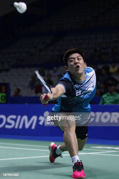 Lee Yongdae of South Korea competes against Chun Hei Lee and Chan Yun Lung of Hong Kong during the men's doubles match on day three of China Open...