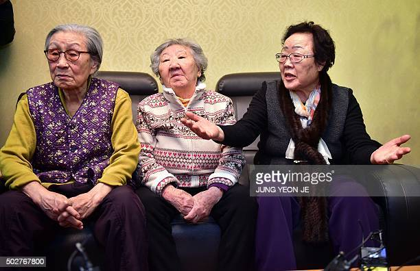 Lee YongSoo along with two other former South Korean 'comfort women' Kim BokDong and Gil WonOk voices criticism at talks with South Korean First Vice...