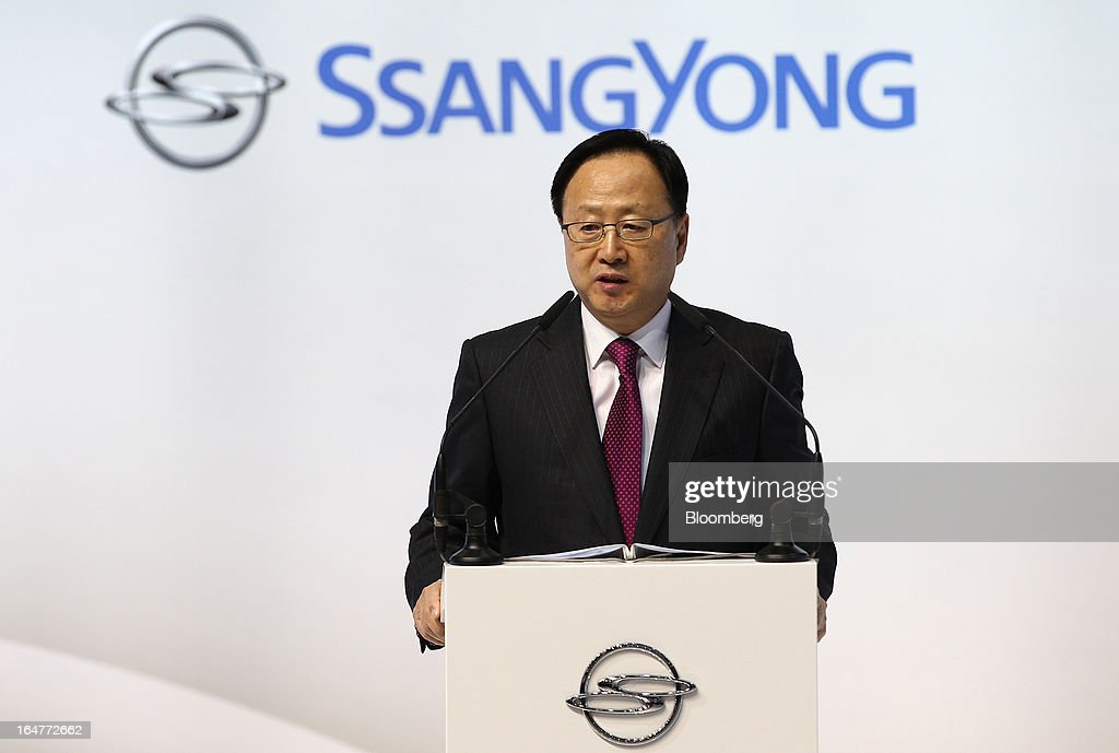 Lee Yoo Il, chief executive officer of Ssangyong Motor Co., speaks during the press day of the Seoul Motor Show in Goyang, South Korea, on Thursday, March 28, 2013. The show runs from today until April 7. Photographer: SeongJoon Cho/Bloomberg via Getty Images