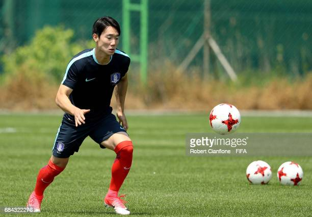 Lee Youhyeon of Korea Republic controls the ball during a Korea Republic training session at the U20 World Cup training field ahead of the FIFA U20...