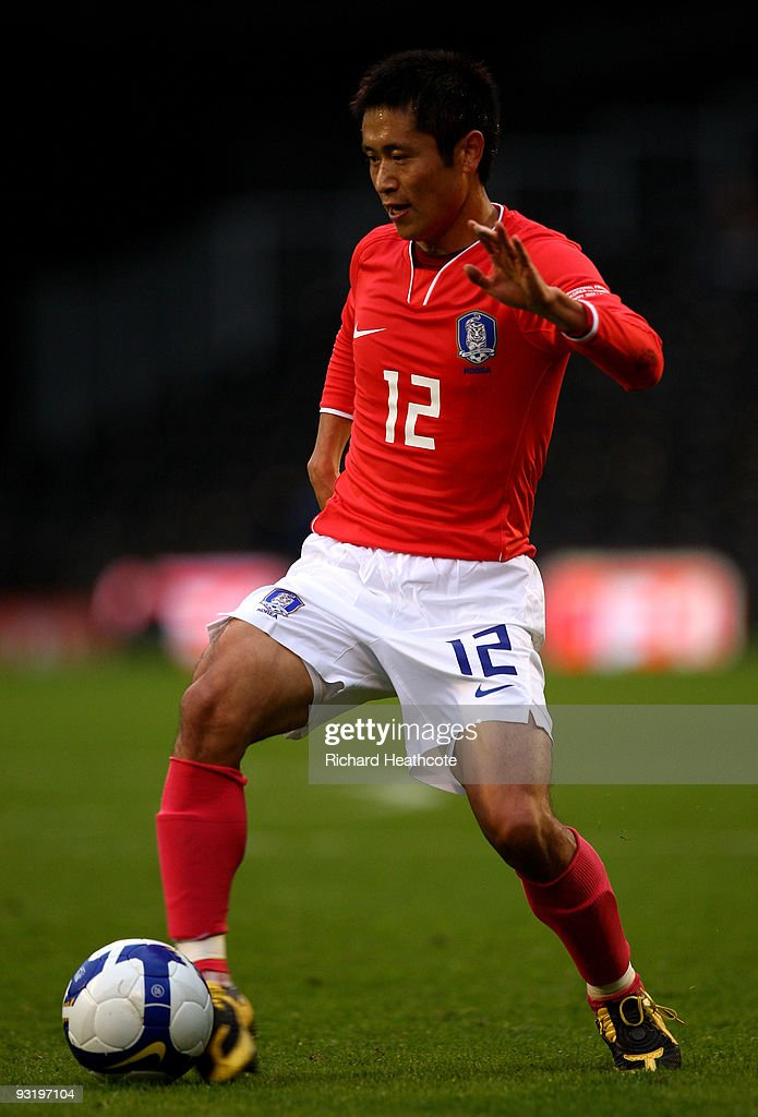 Lee Young Pyo of South Korea in action during the International Friendly match between South Korea and Serbia at Craven Cottage on November 18 2009...