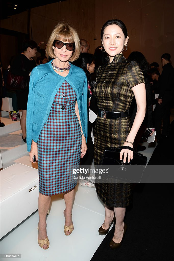 Lee YoungAe and Anna Wintour attend the Gucci show as part of Milan Fashion Week Womenswear Spring/Summer 2014 on September 18 2013 in Milan Italy