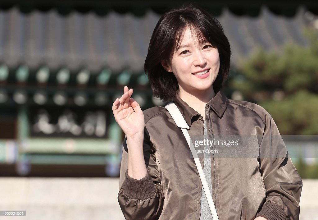 Lee Youngae poses for photographs during the SBS 'Saimdang the Herstory' filming at Ojukheon House on November 30 2015 in Gangwondo South Korea