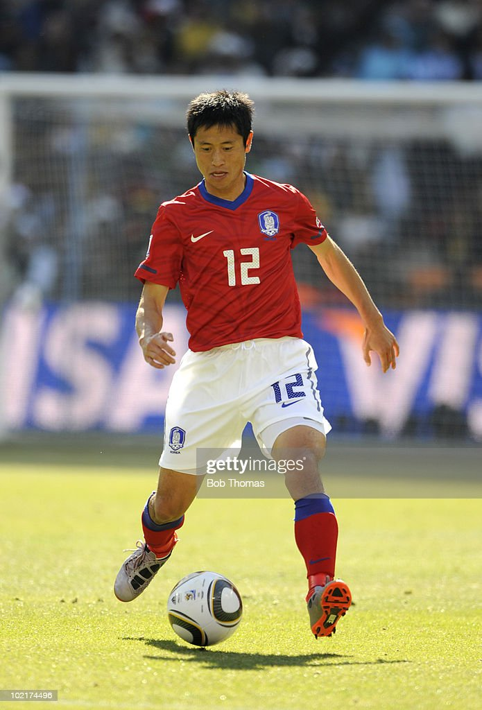 Lee YoungPyo of South Korea during the 2010 FIFA World Cup South Africa Group B match between Argentina and South Korea at Soccer City Stadium on...