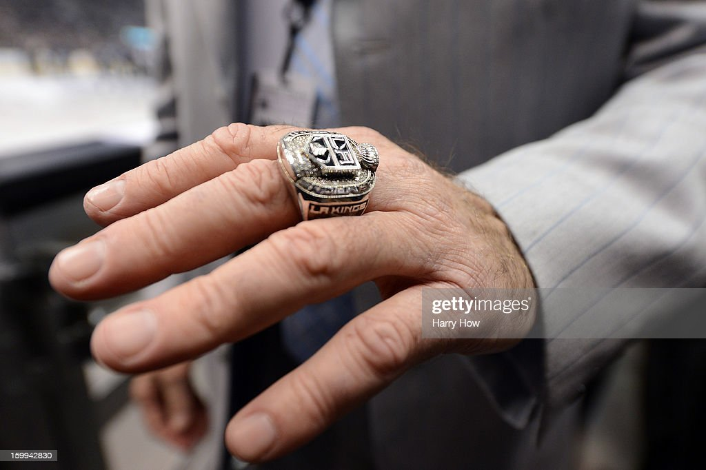 Lee Zeidman wears his Stanley Cup ring before the game between the Chicago Blackhawks and the Los Angeles Kings at Staples Center on January 19, 2013 in Los Angeles, California.