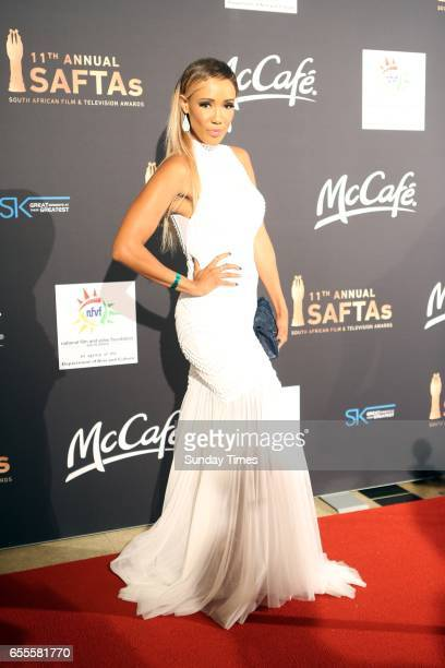 LeeAnn Williams poses on the red carpet during the South African Film and Television Awards at Sun City on March 18 2017 in Rustenburg South Africa...