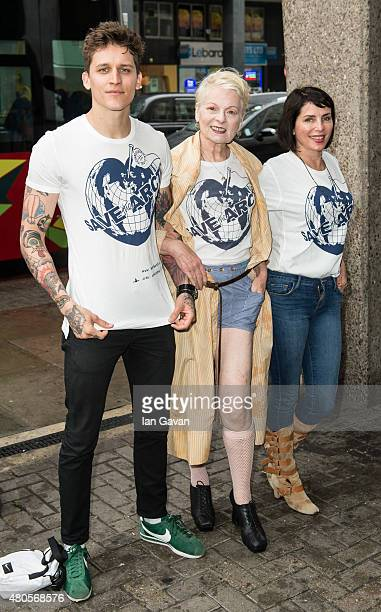Leebo Freeman Vivienne Westwood and Sadie Frost attend the Save The Arctic Collection launch at Waterloo Station on July 13 2015 in London England