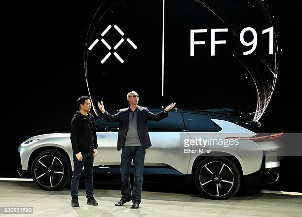 LeEco Founder and CEO YT Jia and Faraday Future Senior Vice President of Research and Development and Engineering Nick Sampson unveil Faraday...