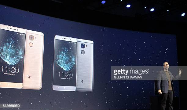 LeEco US chief research officer Rob Chandhok at a press event in San Francisco shows off smartphones the Chinese company is bringing to North America...