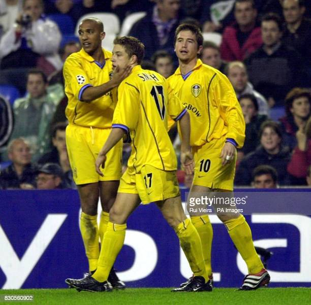 LEAGUE Leed United's Alan Smith is congratulated after scoring against Real Madrid during a Champions League Group D match at the Bernabeu Stadium...