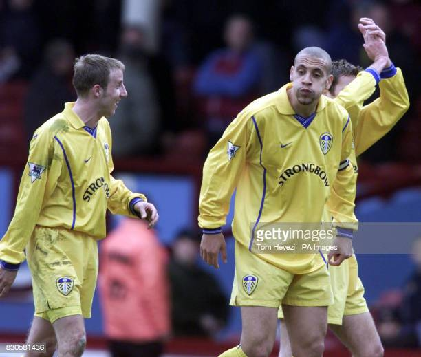 LEAGUE Leed United's Lee Bowyer shares a joke with team mate Rio Ferdinand at the end of the FA Carling Premiership game against West Ham United at...