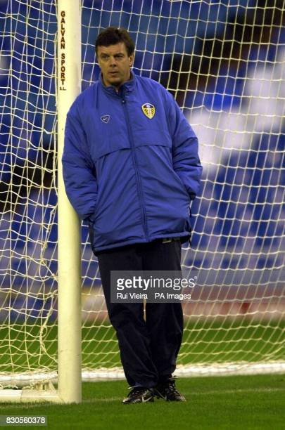 LEAGUE Leed United's manager David O'Leary during training at the Santiago Bernabeu Stadium Madrid in preparation for their Champions League Group D...