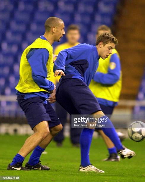 LEAGUE Leed United's Rio Ferdinand and Alan Smith during training at the Santiago Bernabeu Stadium Madridin preparation for their Champions League...