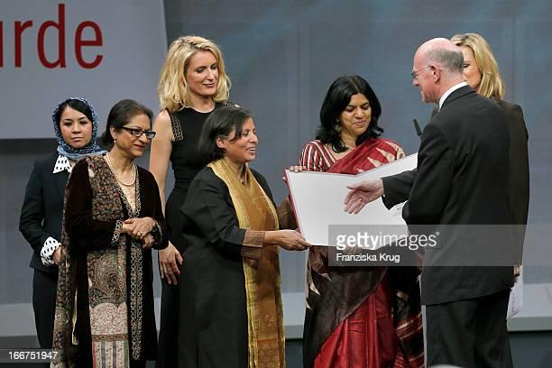 Leeda Yacoobi Asma Jahangir Maria Furtwaengler Suneeta Dhar Kalpana Viswanath Norbert Lammert and Nina Ruge attend the 'Roland Berger Human Dignity...