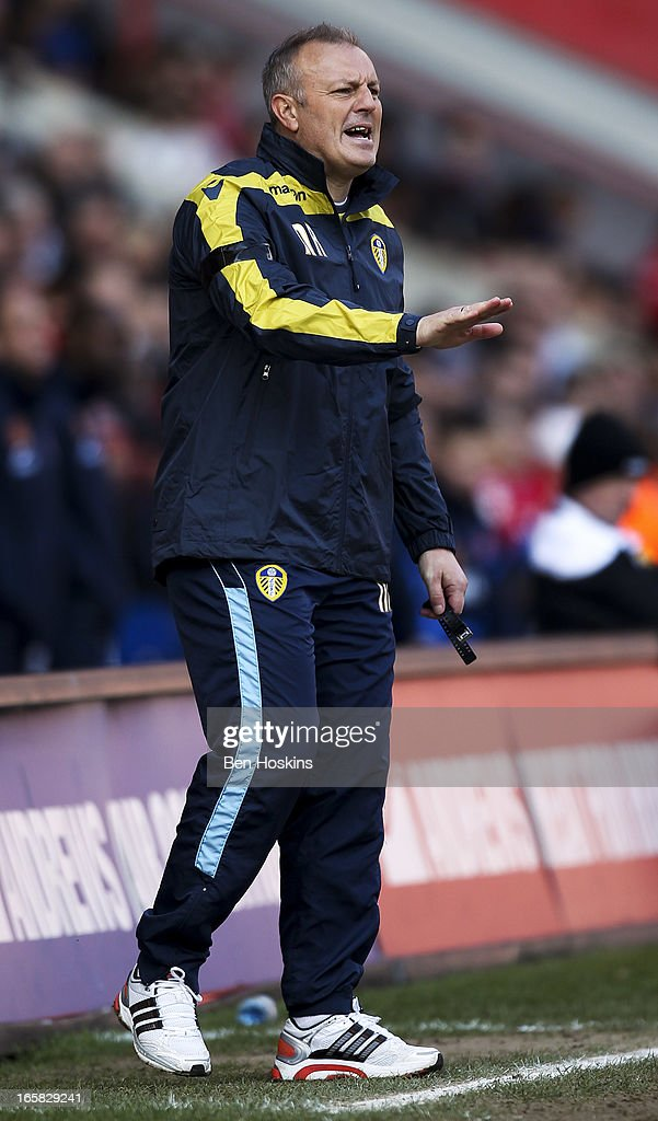 Leeds caretaker manager Neil Redfearn shouts instructions during the npower Championship match between Charlton Athletic and Leeds United at the Valley on April 06, 2013 in London, England.