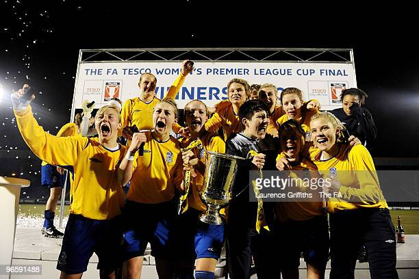 Leeds Carnegie celebrate with the trophy after the Tesco Womens Premier League Cup Final between Everton and Leeds Carnegie at Spotland Stadium on...