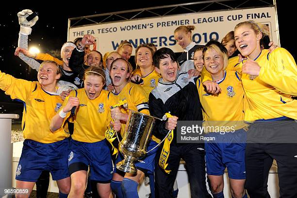 Leeds Carnegie players celebrate after victory in the FA Tesco Women�s Premier League Cup Final between Everton and Leeds Carnegie at Spotland...