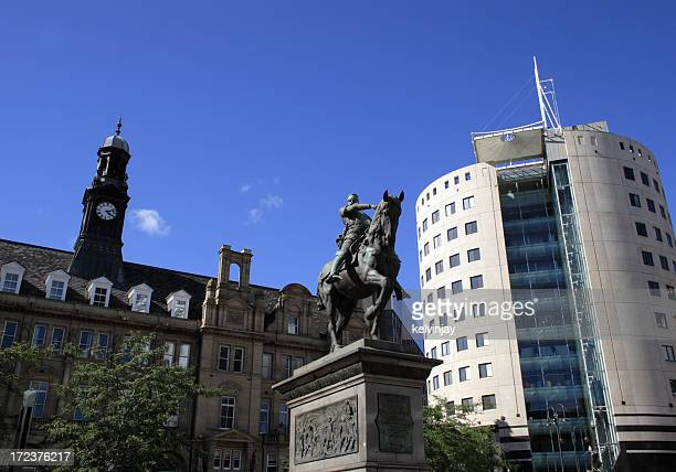 Leeds City Square showing the Black Prince statue