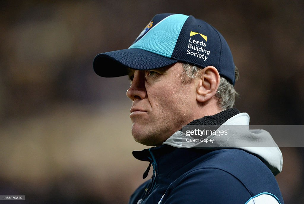 Leeds coach Brian McDermott looks on ahead of the First Utility Super League match between Hull FC and Leeds Rhinos at KC Stadium on March 5, 2015 in Hull, England.