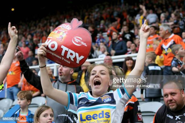 Leeds fan celebrates as a Castleford try is not awarded during day two of the Betfred Super League Magic Weekend at St James' Park Newcastle