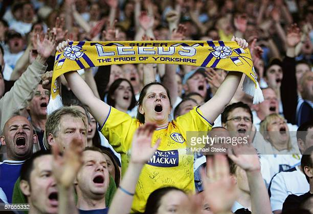 Leeds fans cheer during the CocaCola Championship PlayOff SemiFinalFirst Leg match between Leeds United and Preston North End at Elland Road on May 5...