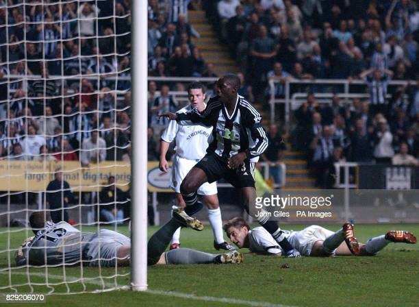 Leeds goalkeeper Paul Robinson makes a point blank save from Shola Ameobi of Newcastle United as Jonathan Woodgate can only look on during the...