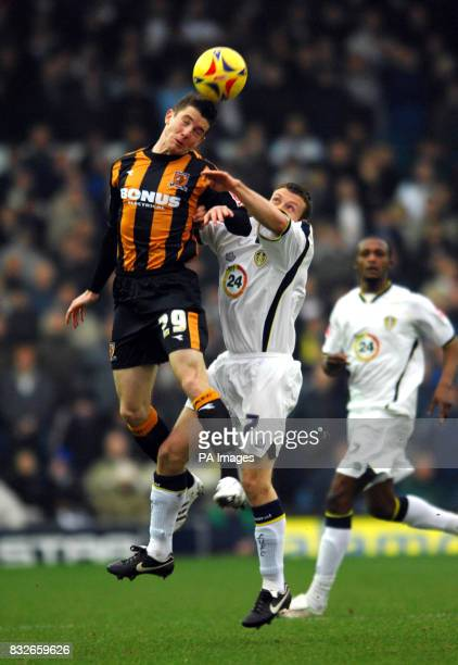 Leed's Ian Westlake challenges Hull's Ryan France during the CocaCola Championship match at Elland Road Leeds