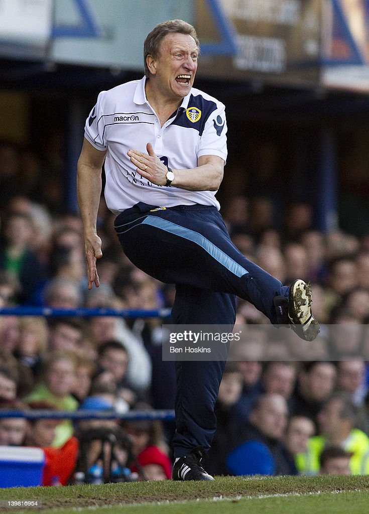 Leeds manager <a gi-track='captionPersonalityLinkClicked' href=/galleries/search?phrase=Neil+Warnock&family=editorial&specificpeople=644786 ng-click='$event.stopPropagation()'>Neil Warnock</a> reacts during the npower Championship match between Portsmouth and Leeds United at Fratton Park on February 25, 2012 in Portsmouth, England.