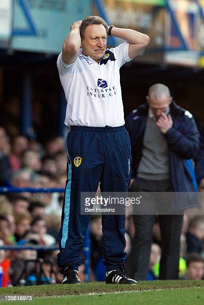 Leeds manager Neil Warnock reacts during the npower Championship match between Portsmouth and Leeds United at Fratton Park on February 25 2012 in...