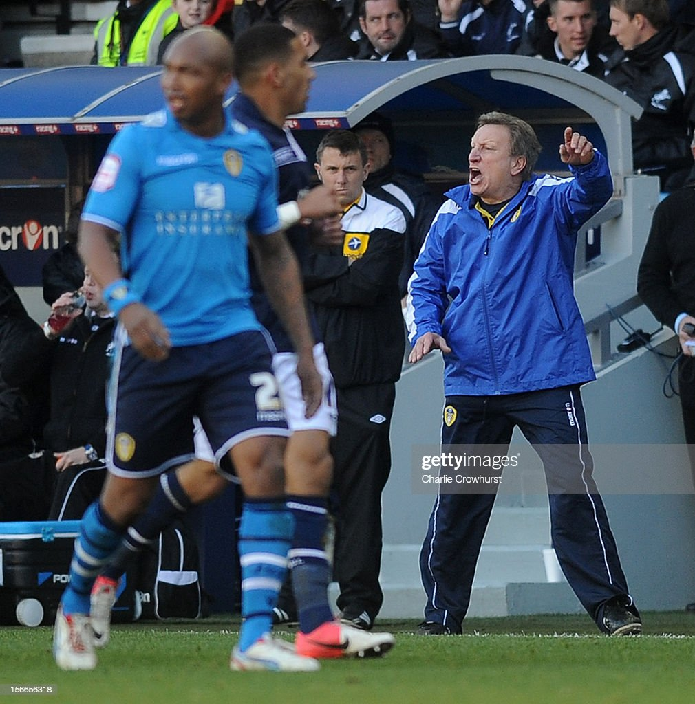 Leeds' Manager Neil Warnock shouts orders to the team during the npower Championship match between Millwall and Leeds United at The New Den on November 18, 2012 in London, England.
