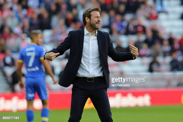 Leeds manager Thomas Christiansen during the Sky Bet Championship match between Sunderland and Leeds United at Stadium of Light on August 19 2017 in...