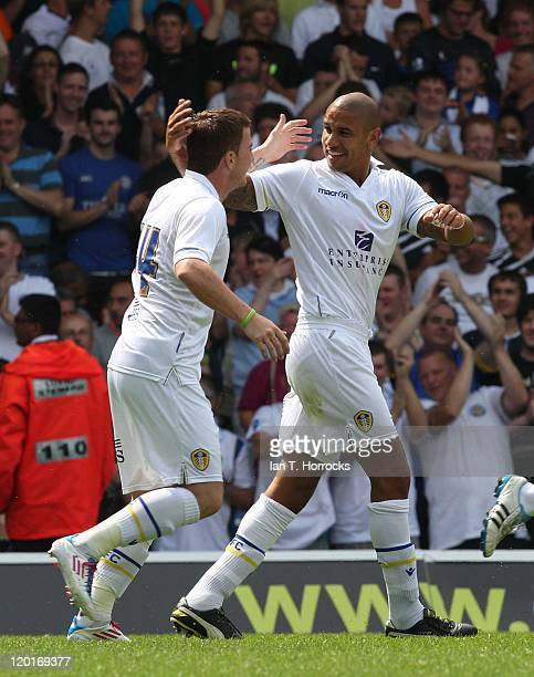 Leeds opening goal scorer Patrick Kisnorbo celebrates with Ross McCormack during a Preseason friendly match between Leeds United and Newcastle United...