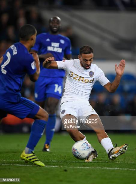Leeds player Kemar Roofe scores their first goal during the Sky Bet Championship match between Cardiff City and Leeds United at Cardiff City Stadium...