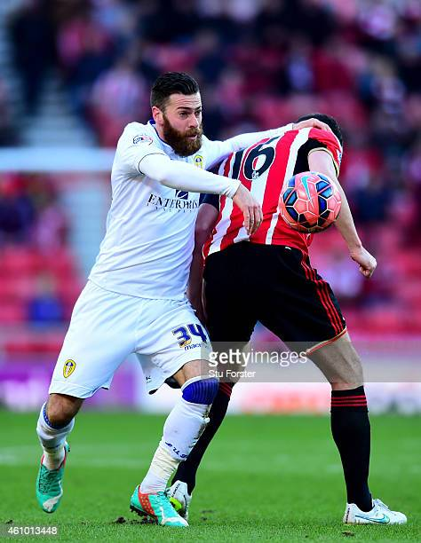 Leeds player Mirco Antenucci battles in vain for the ball against John O' Shea during the FA Cup Third Round match between Sunderland and Leeds...