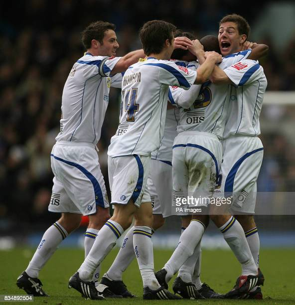 Leeds players celebrate their second goal scored by Leeds United's Fabian Delph during the CocaCola League One match at Elland Road Leeds