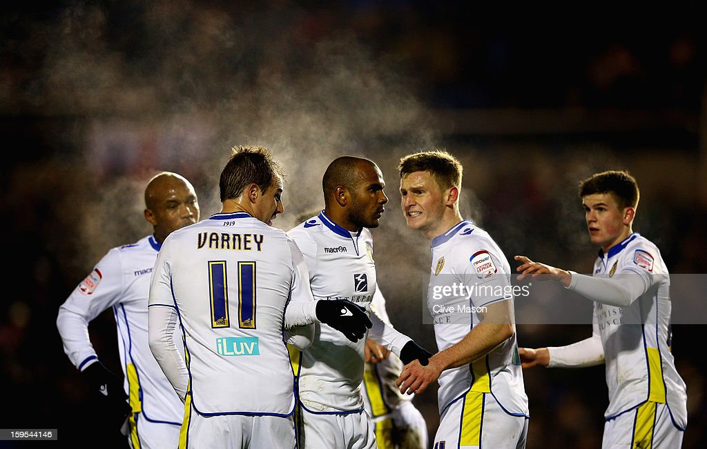 Leeds players form a defensive wall during the FA Cup with Budweiser Third Round Replay match between Birmingham City and Leeds United at St Andrews on January 15, 2013 in Birmingham, England.