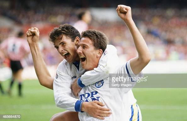 Leeds players Gary Speed and John Pearson celebrate a goal during a League Division One match between Sheffield United and Leeds United at Bramall...
