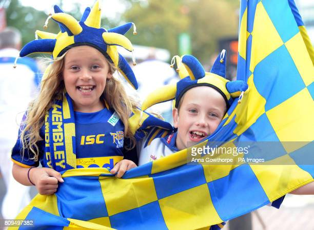 Leeds Rhinos fans Charlie Elmes and Oliver Taylor both aged eight from Leeds enjoy their first trip to watch the Carnegie Challenge Cup Final at...