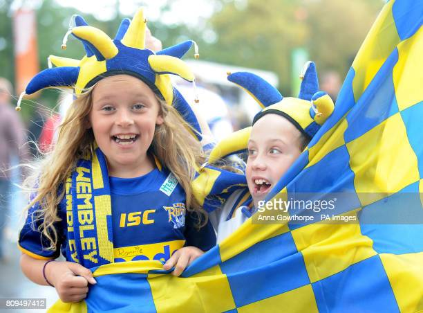 Leeds Rhinos fans Charlie Elmes and Oliver Taylor both aged eight from Leeds enjoy their first trip to watch the the Carnegie Challenge Cup Final at...