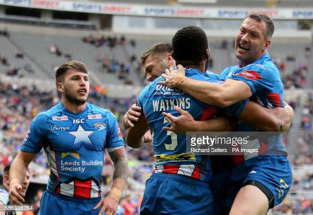 Leeds Rhinos Kallum Watkins celebrates his opening try with Danny McGuire during day two of the Betfred Super League Magic Weekend at St James' Park...