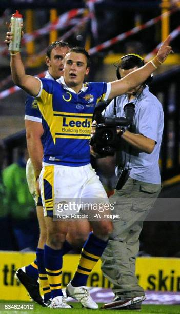 Leeds Rhinos' Lee Smith celebrates victory over Wigan Warriors following the Engage Super League Grand Final Eliminator at Headingley Carnegie...