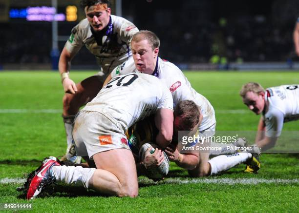 Leeds Rhinos' Paul McShane scores a try during the Super League match at Headingley Carnegie Leeds