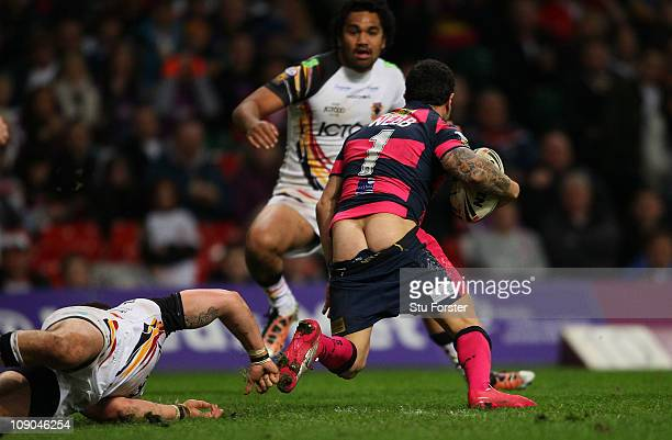 Leeds Rhinos player Brent Webb gets pulled back by his shorts in the tackle during the Engage Super League Match between Bradford Bulls and Leeds...