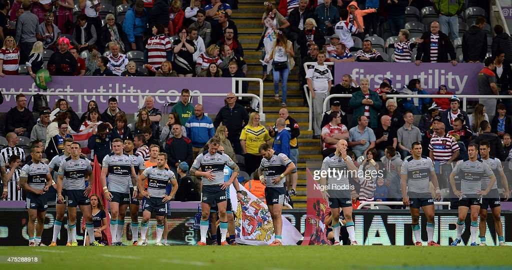 Leeds Rhinos players react during the Super League match between Leeds Rhinos and Wigan Warriors at St James' Park on May 30, 2015 in Newcastle upon Tyne, England.