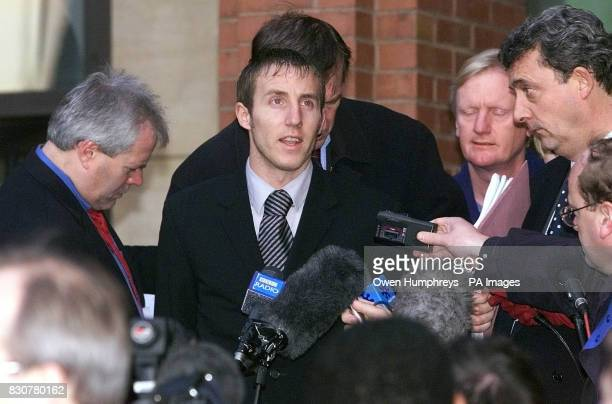 Leeds soccer player Lee Bowyer talks to journalists as he walks free from Hull Crown Court after he was found not guilty of causing grievous bodily...